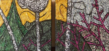 "Birches and Redbud Diptych 8""x8""x2 Acrylic on canvas SOLD"
