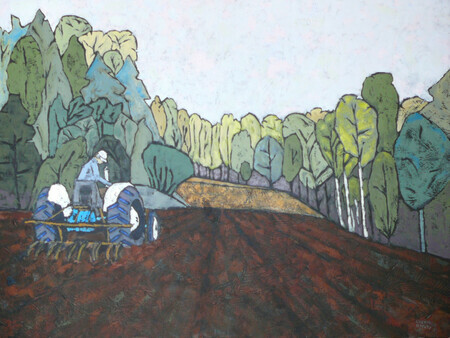 "Vintage Cultivation for a Native Meadow  Acrylic on canvas 30""x40""   Artist collection.      The old 1963 Ford Super Dexta tractor at work."