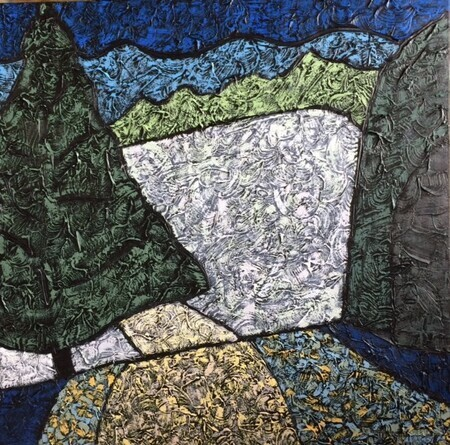 "Meadow at the Narrows 30""x30"" Acrylic on canvas"